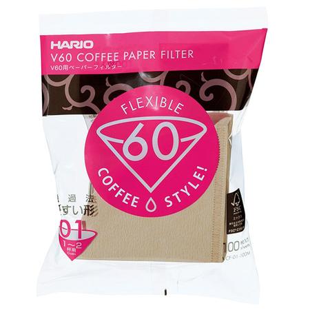 Hario filtry papierowe Misarashi brązowe – V60-01 – 100 Sztuk