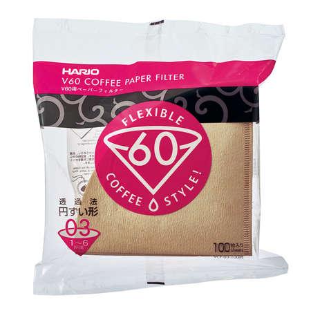 Hario filtry papierowe Misarashi brązowe – V60-03 – 100 Sztuk